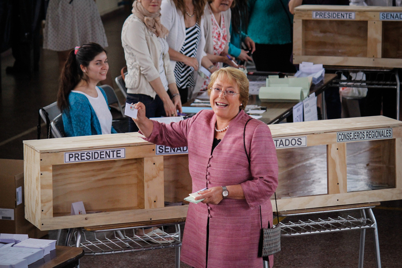 Michelle Bachelet votes on November 17, 2013 in Santiago, Chile. Photo by prensachile3, copyright Demotix