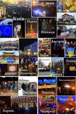 An image listing various cities where #Euromaidan protests were held in Ukraine and abroad: Brasil, South Korea, India, Austria, Czech Republicand other. Image by Twitter user Ihor Shevchenko (@upiterian). Used with permission.