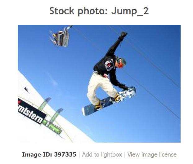 Screenshot of snowboarder photo on StockExchange.