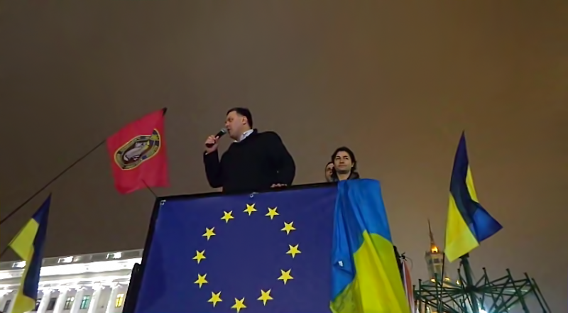 Nationalist Ukrainian politician Oleg Tiagnibok speaking at a pro-EU accession rally in Kiev, Ukraine. YouTube screenshot.