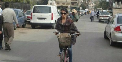 Girl riding a bike in Damascus. Source: She Wants a Bike´s campaign´s facebook page