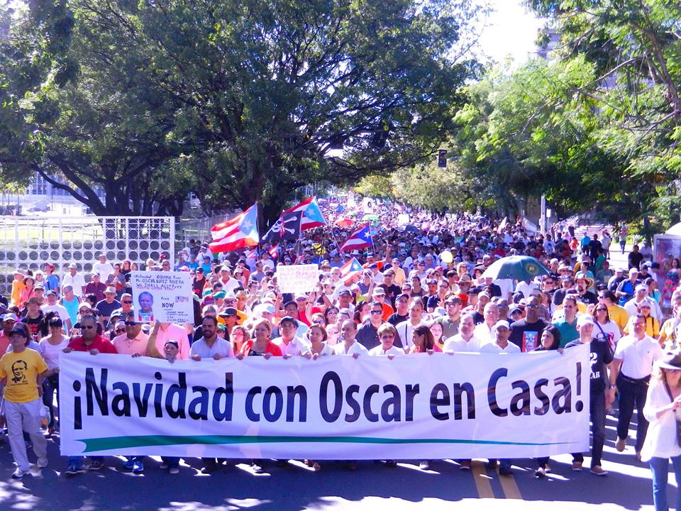 Thousands gathered in Hato Rey, the economic hub of the capital city of San Juan, on Saturday, November 23, to demand the release of Oscar López Rivera from prison.