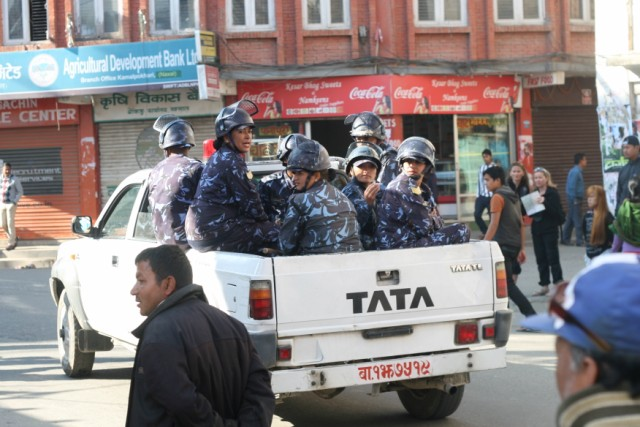Security personal patrolling Kathmandu city on election day in Nepal. Photo by gagan_thapa thapa. Copyright Demotix (19/11/2013)