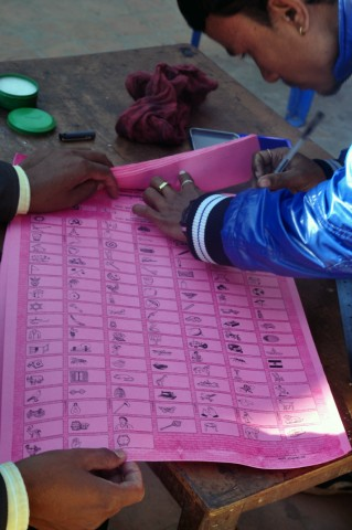 Proportional representation ballot paper featuring more than 100 parties. Photo by anuj arora. Copyright Demotix (19/11/2013)
