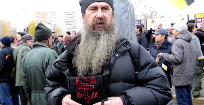 Orthodox activist attends Russian March, 4 November 2011. YouTube screenshot.