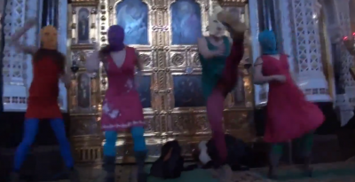"A scene from Pussy Riot's infamous ""punk prayer"" in February 2012, YouTube screenshot."
