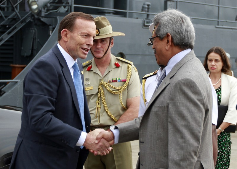 Australian Prime Minister Tony Abbott visits the Sri Lanka Navy vessel Sayura in Colombo, Sri Lanka. Photo by Chamila Karunarathne, Copyright @Demotix (11/17/2013)