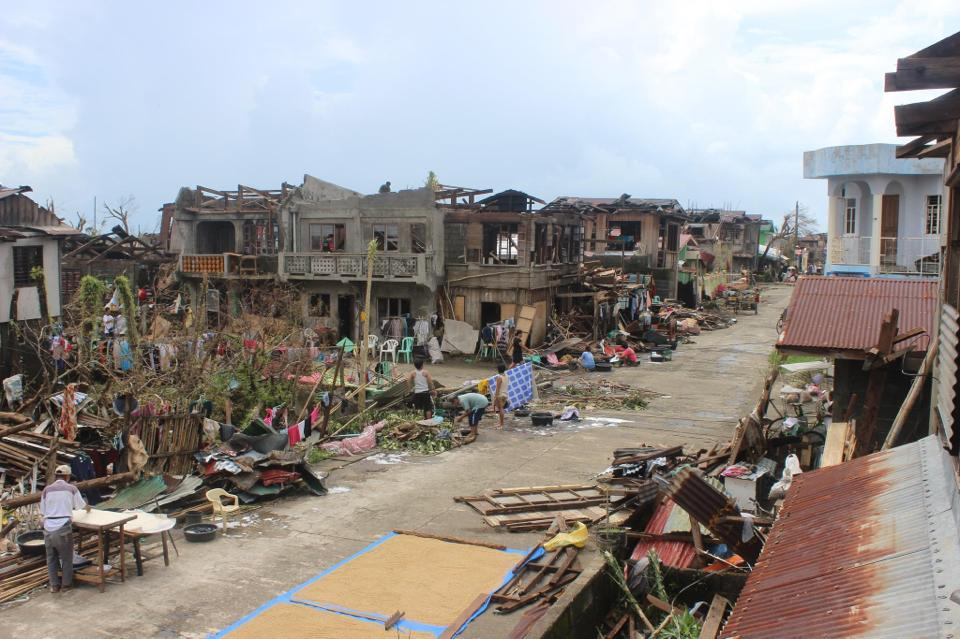 A street in Balangiga, Samar. One of the badly hit provinces. Photo by Autonomo Sr Abellar Amano, Facebook
