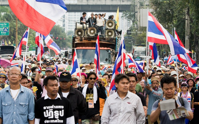 Thousands of anti-government protesters continued to hold rallies and marches across Bangkok. Photo by George Henton, Copyright @Demotix (11/26/2013)