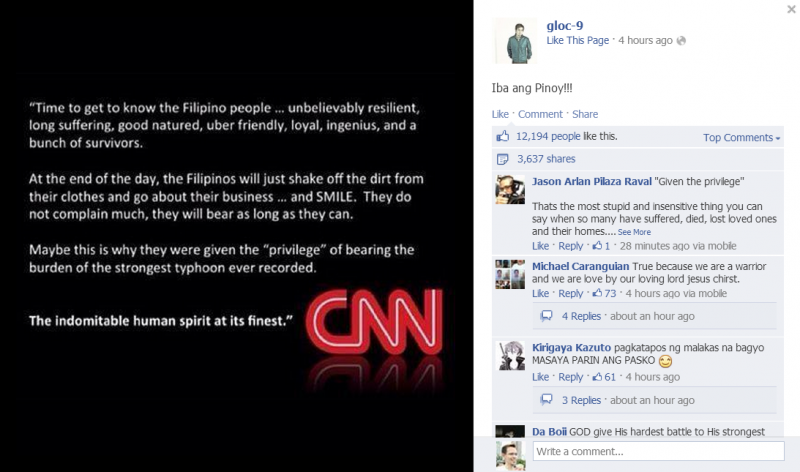 A 'CNN comment' which went viral in the Philippines. Image from Filipino FreeThinkers website