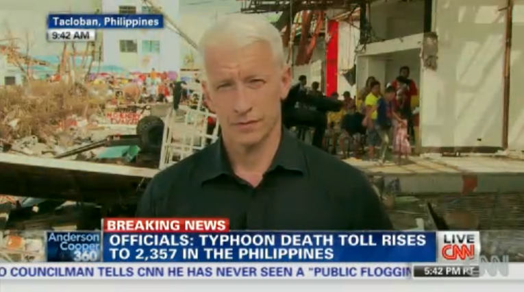 CNN's Anderson Cooper reporting from Tacloban, Philippines. Photo from CNN website