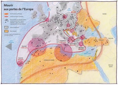 """Dying at the gates of Europe"" by Philippe Rekacewicz  on Le Monde Diplomatique"