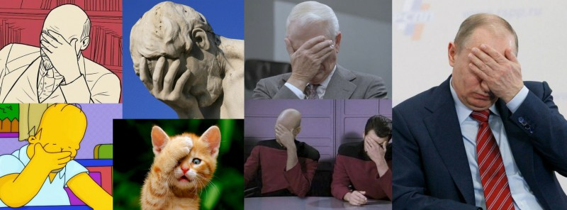 """Facepalm politics."" Images mixed by Kevin Rothrock."