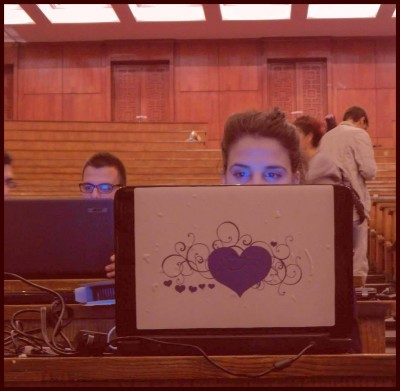 Students occupy Sofia University and use laptops to send information out; photo from the Early-wakening students Facebook fan page, used with permission.