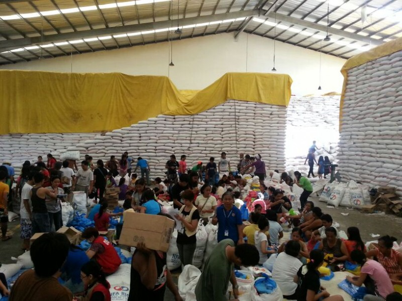 A relief packing operation in Tacloban. Government photo