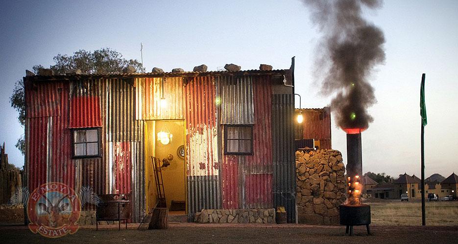 Fake slum made of corrugated iron sheets. Photo source: http://www.emoya.co.za/