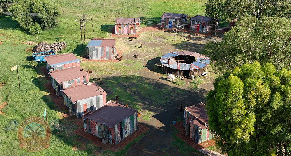 An aerial view of Emoya's fake slum. Photo source: http://www.emoya.co.za/