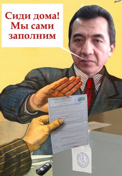 "This image shows the head of Tajikistan's election commission, saying ""Stay home! We will fill in [your ballot paper] for you"". Image circulated anonymously on Platforma."