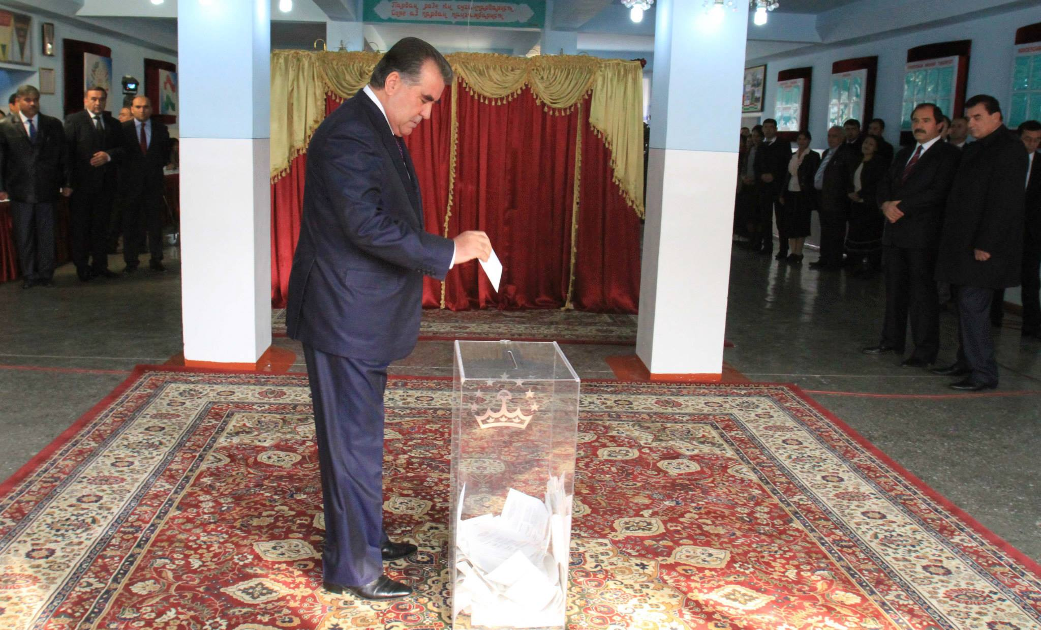 President Emomali Rahmon casting his vote today. Photo by president's press service, part of public domain.