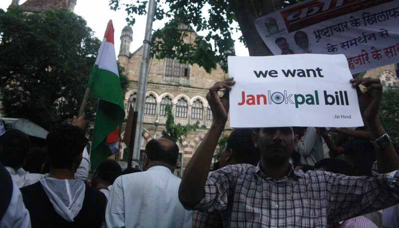 A Janlokpal Bill supporter outside Azad Maidan in Mumbai during 2011 anti-corruption protest. Copyright Chirag Sutar (16/8/2011)