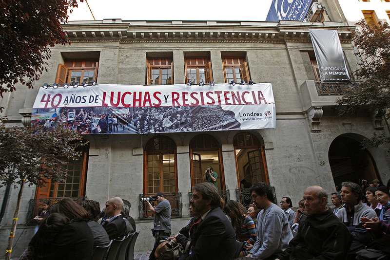 """40 Years of Fighting and Resistance"": Londres 38, former torture and detention centre in Santiago, Chile. Photo by the Municipality of Santiago on Flickr, under a Creative Commons license (CC BY-NC-ND 2.0)"