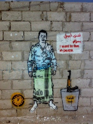 A graffiti by Murad Subay demanding a weapon-free peaceful life.