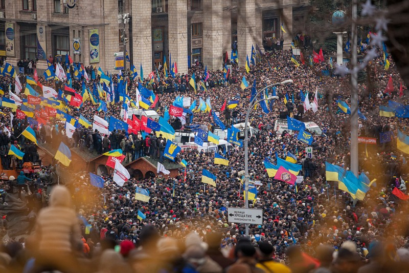 #Euromaidan protesters fill central Kyiv. Dec.1, 2013. Photo by Alexandra Gnatoush. Used with permission.