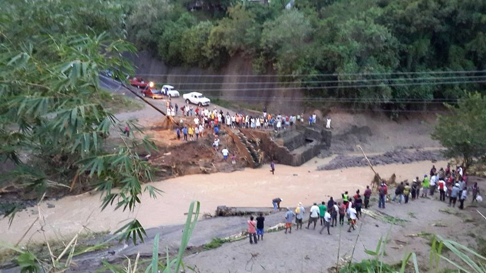 The Piaye Bridge in the south-west of Saint Lucia was washed away.