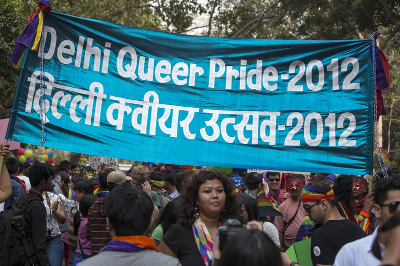Image from the fifth annual Delhi Queer Pride Parade 2012 in central New Delhi, India. The future of this parade is uncertain after this Supreme Court Verdict. Image by  Jiti Chadha. Copyright demotix (25/11/2012)