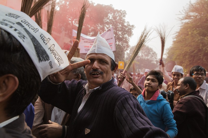 Celebration rang out from the AAP (Aam Aadmi Party) headquarters in New Delhi as polling results revealed their success. Image by  Louis Dowse. Copyright Demotix (8/12/2013)
