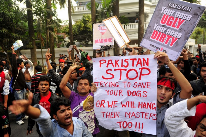 Protesters  has marched towards the Pakistan High Commission in Bangladesh. Image by  Khurshed Alam Rinku. Copyright Demotix (18/12/2013)
