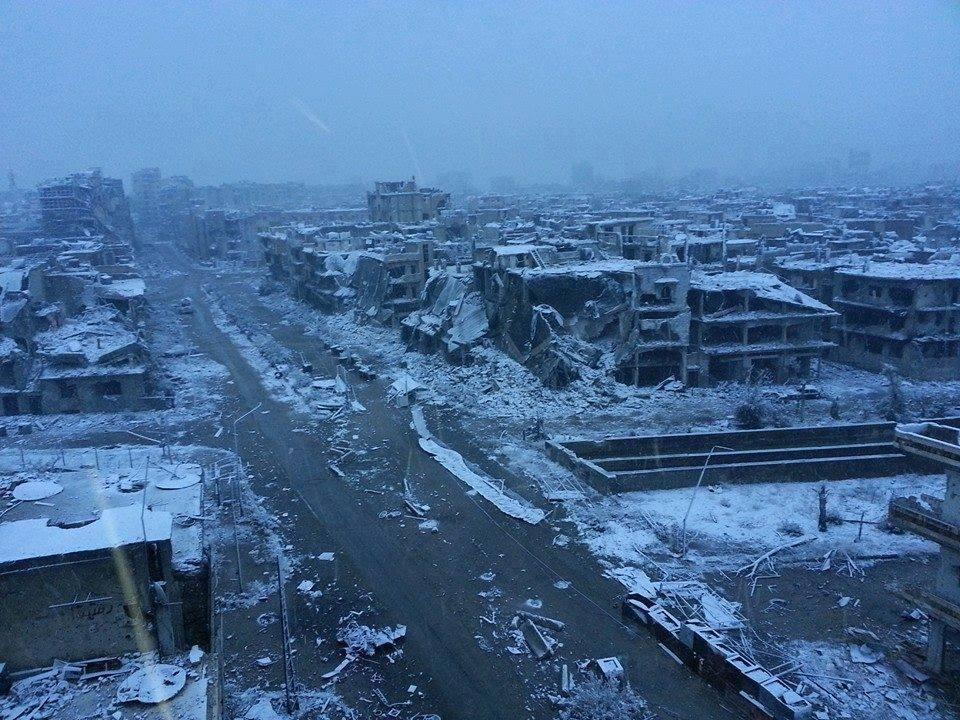 Homs this winter. This photograph has been widely shared online. (Source: unknown)