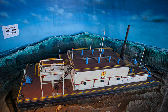 Diorama depicting a floating diesel power station, Aceh Tsunami Museum, Banda Aceh, Indonesia. Photo by Ivan Sigal, 2012.