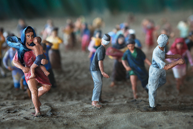 Diorama depicting people fleeing a wave, Aceh Tsunami Museum, Banda Aceh, Indonesia (detail). Photo by Ivan Sigal, 2012.