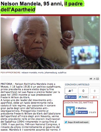 "A screenshot of Italian newspaper Il Mattino's headline calling Nelson Mandela ""the father of apartheid"""