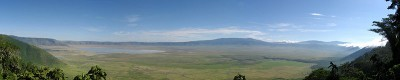 Ngorongoro Crater,  a UNESCO World Heritage Site and one of the seven natural wonders of Africa, located in Arusha, Tanzania. Photo released by Thomas Huston under  GNU Free Documentation License,.