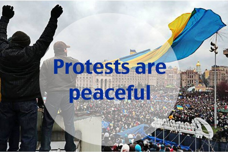 A photoshopped image created by Vitaliy Moroz and circulated online. The image conveys a key message about Euromaidan to the world.
