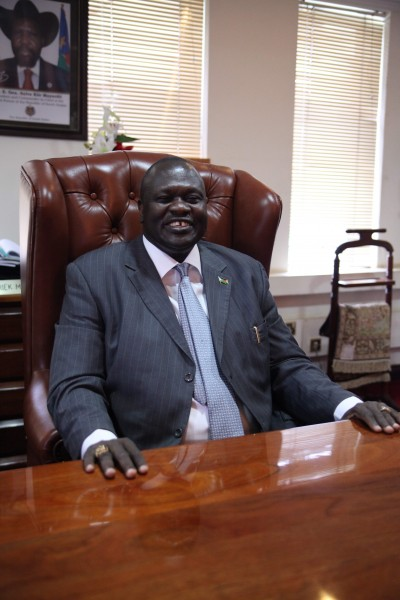 South Sudan's Vice-President Riek Machar is seated in his office, June 30, 2012