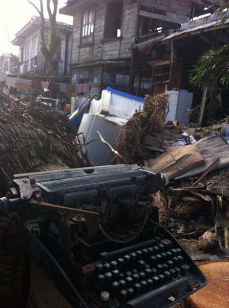 A typewriter was one of the salvaged things in Balangkaya, Eastern Samar. Photo from April Val Montes