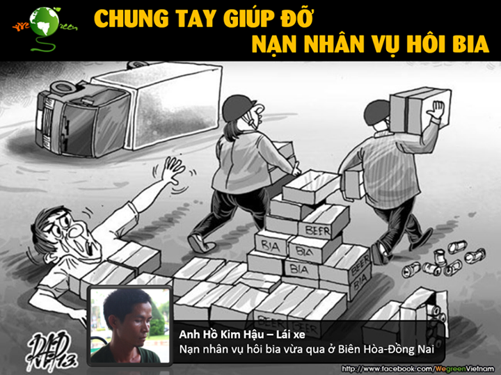 "One of the companies which pledged assistance to the truck driver: ""Let's join hands to help the beer looting victim and save the Vietnamese people's honor."" Photo from Facebook page of Wegreen Vietnam."