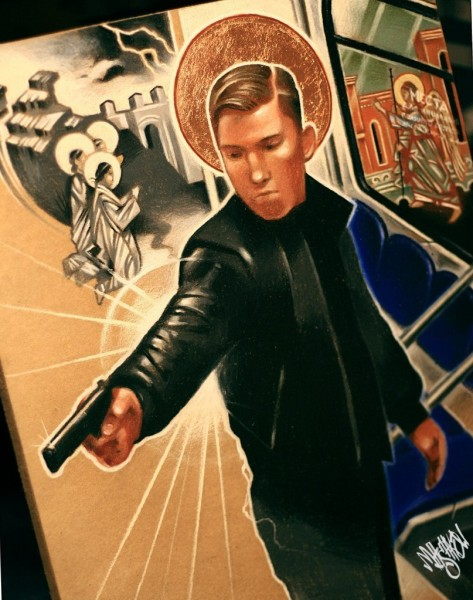 One of the shooters given a religious treatment in a painting by an unknown author.