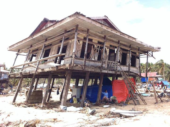 A damaged house in Hernani, Eastern Samar. Photo from April Val Montes