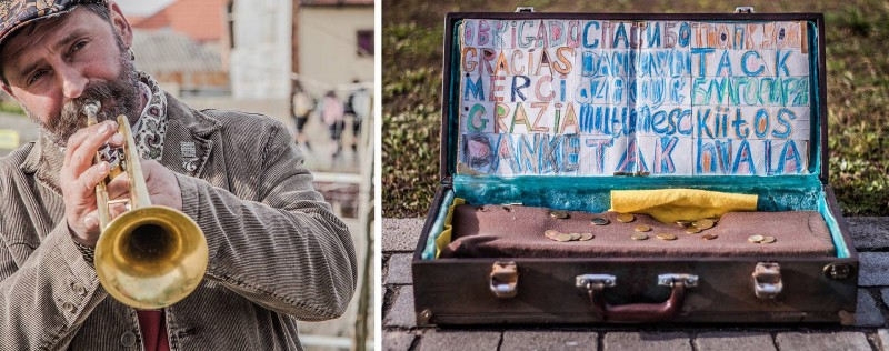 """Film me and put it on the Internet. I want to be a Youtube star"". The Ukrainian guy was once a well-known boxer in the Soviet Union, but now he plays music for a living, entertaining the tourists near Sé. Photo: Erge Sonn"