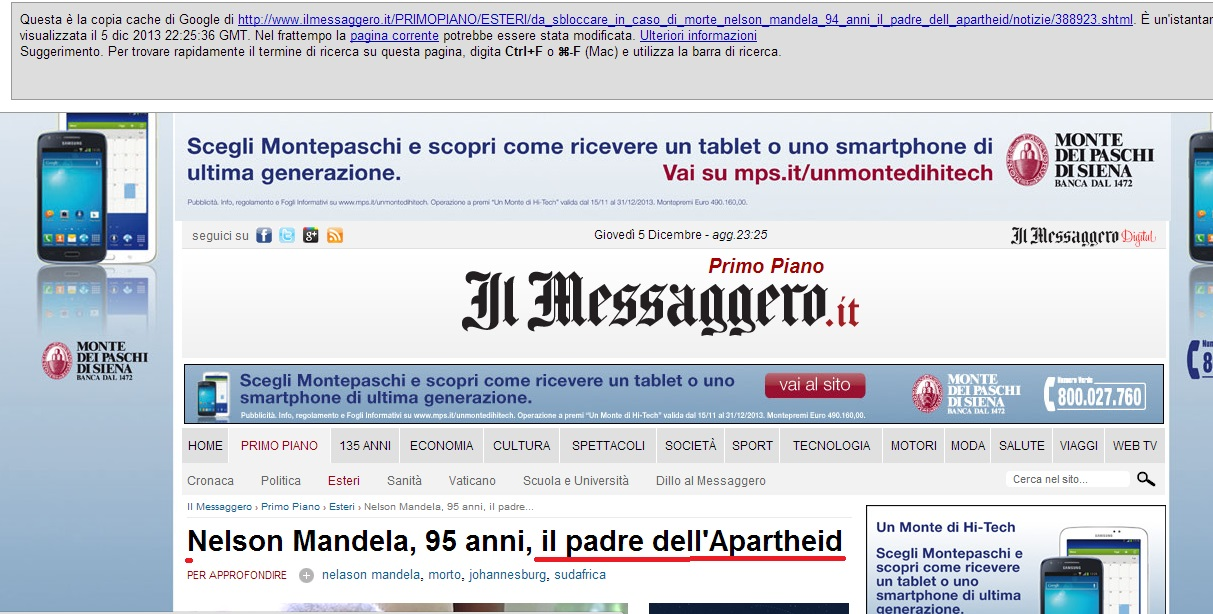 "Italian newspaper Il Messaggero's headline calling Nelson Mandela ""the father of apartheid""."