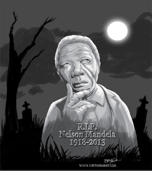 Nelson Mandela 1918-2013. Cartoon by Bryant Arnold. Free for use.