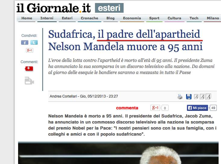 "Mandela, called the ""father of apartheid"" by Il Gionale"