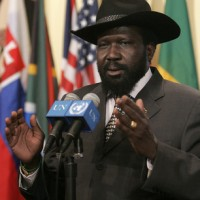 President of South Sudan Salva Kiir Mayardit outside the Security Council chamber, at UN Headquarters in New York. Photo released under the GNU Free Documentation License  by Jenny Rockett.