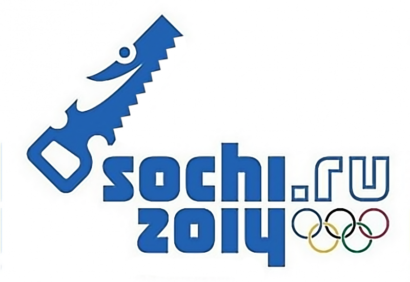 "A photoshopped logo of the Sochi games with a saw mascot. In Russian, the verb ""to saw"" carries a meaning of ""embezzlement."" Anonymous image distributed online."