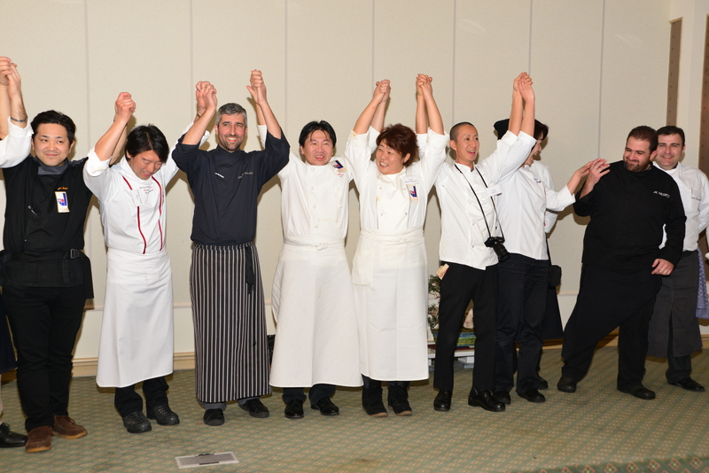 Chania, Greece. 15th January 2014 -- Group picture of cretan and japanese cooks after the event. --
