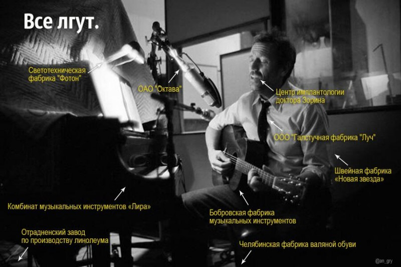"""Everybody lies"": everything Hugh Laurie is wearing and using is captioned with random Russian companies and factories as a riff on his joke that Russia produces nothing for export. Anonymous image distributed online."